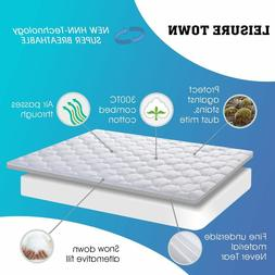 LEISURE TOWN Twin XL Overfilled Fitted Mattress Pad Cover 8-